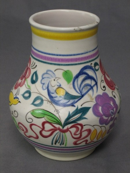 A Circular Poole Pottery Vase Decorated Birds Amidst 28th June
