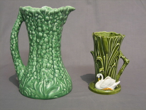 A Green Glazed Sylvac Vase In The Form Of Reeds The 20th