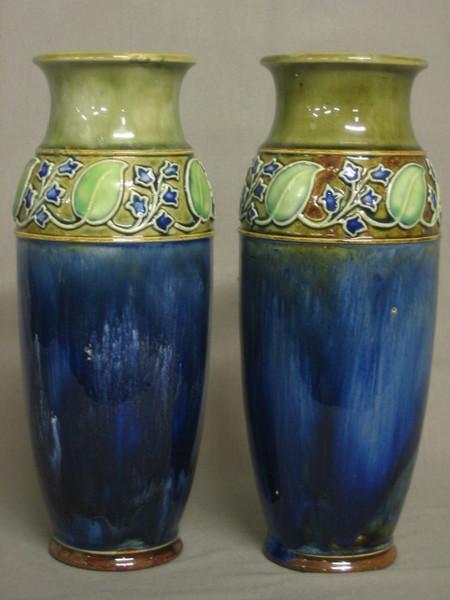 A Pair Of Royal Doulton Art Nouveau Blue Glazed Vases 11th April
