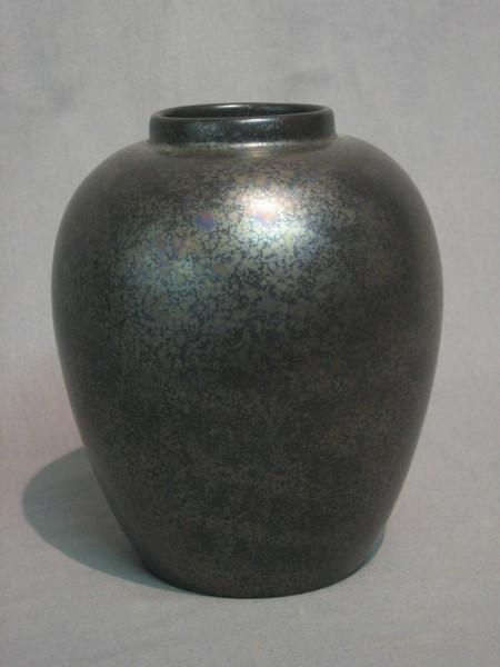 A Black Glazed Poole Pottery Vase The Base Marked 1st August 2007