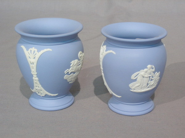 A Pair Of Wedgwood Blue Jasperware Vases Bases Marked 19th