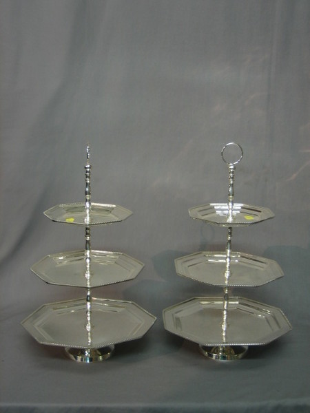 From Other Silverware in the Silver Silver Plated items Jewellery \u0026 Objects of Virtue section in our Antique Fine Art and Collectables auction held on ... & A pair of octagonal silver plated 3 tier cake stands | 29th October ...