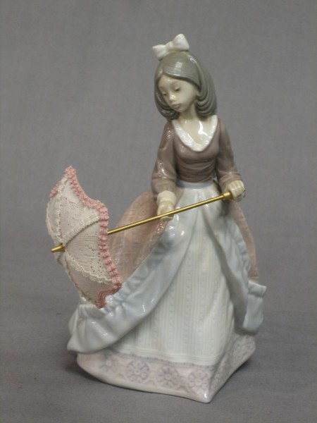 A Lladro Figure Of A Lady With Parasol Base Marked 17th March